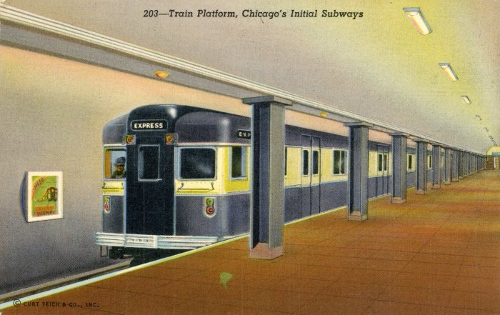 Artist's rendering, from a 1940 Postcard, showing a BMT Bluebird rapid transit train running in Chicago's subway, then under construction