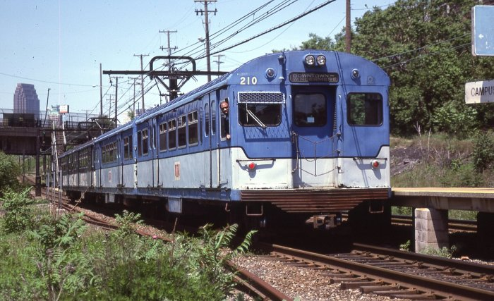 "The ""other"" Bluebird PCC rapid transit cars- Cleveland's, built in the mid-1950s, are shown here in this photograph by David Sadowski, just prior to their retirement in the early 1980s."