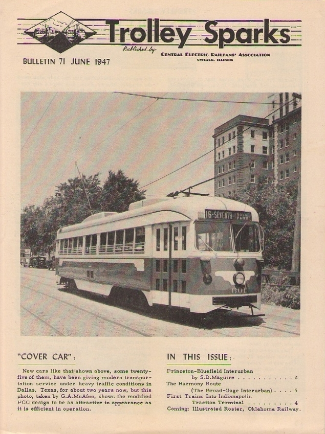 Trolley Sparks from June 1947, aka CERA bulletin #71, with a cover shot of a Dallas double-end PCC car. Eventually these cars wound up in Boston.