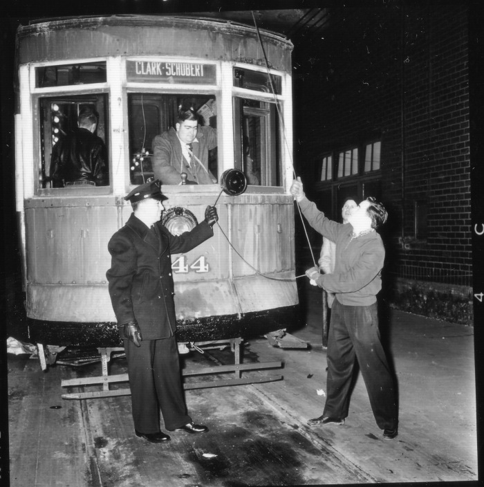 Car #144 inside Limits Car Barn, on an ERHS fantrip, February 10, 1957 (CTA Historical Collection)