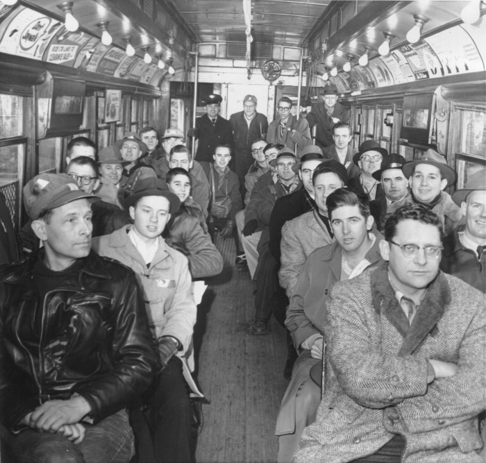 Car #144 interior on an ERHS fantrip, February 10, 1957 (CTA Historical Collection)