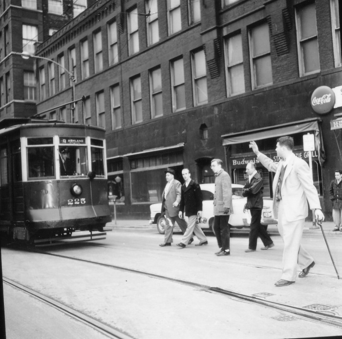 Car #225 at Kinzie and State (CTA Historical Collection)