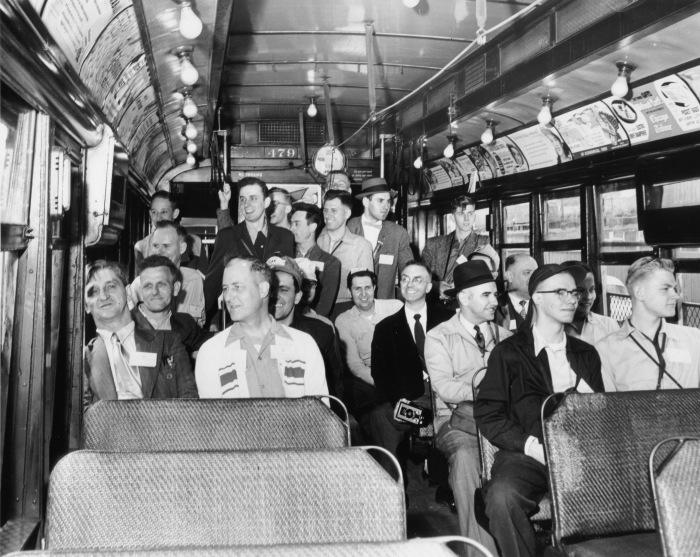 Car #479 interior, CERA fantrip, May 16, 1954 (CTA Historical Collection)