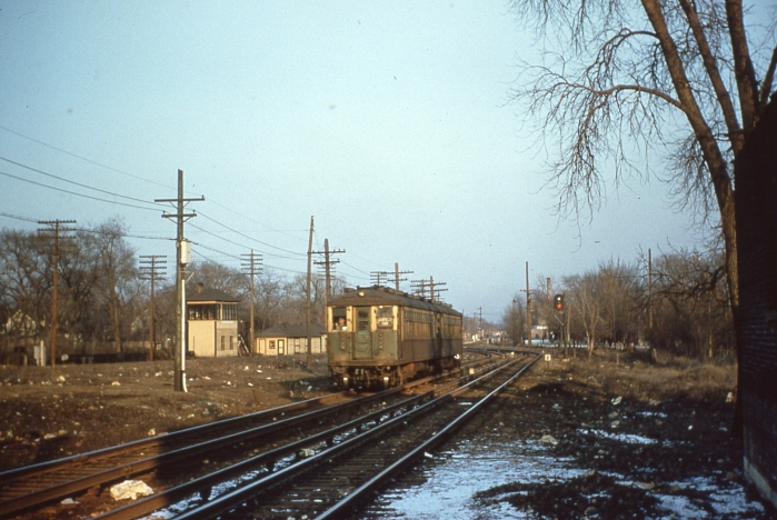 Looking east from DesPlaines avenue in Forest Park on March 18, 1956, near where the Garfield line crossed the B&O. (Photo by Ray DeGroote)