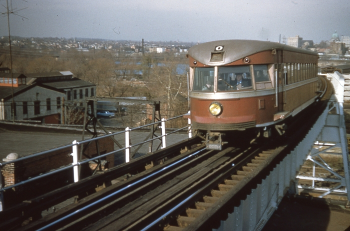 "P&W ""Bullet"" car #200 on the Norristown High-Speed Line, in a picture probably taken in the late 1950s (Author's collection)"