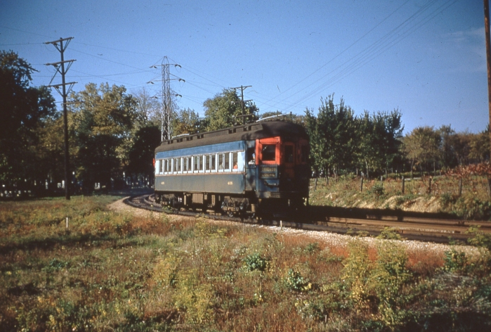 CA&E car 408 near DesPlaines avenue on October 16, 1955 (Photo by Ray DeGroote)