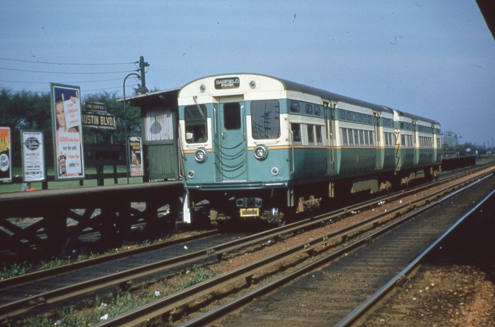 CTA 6042-6041 westbound at Austin Boulevard on May 9, 1954. (Photo by Ray DeGroote)
