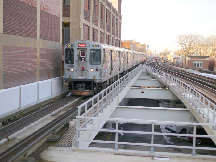 Subway-bound CTA Brown Line train, southbound at Fullerton, March 8, 2013