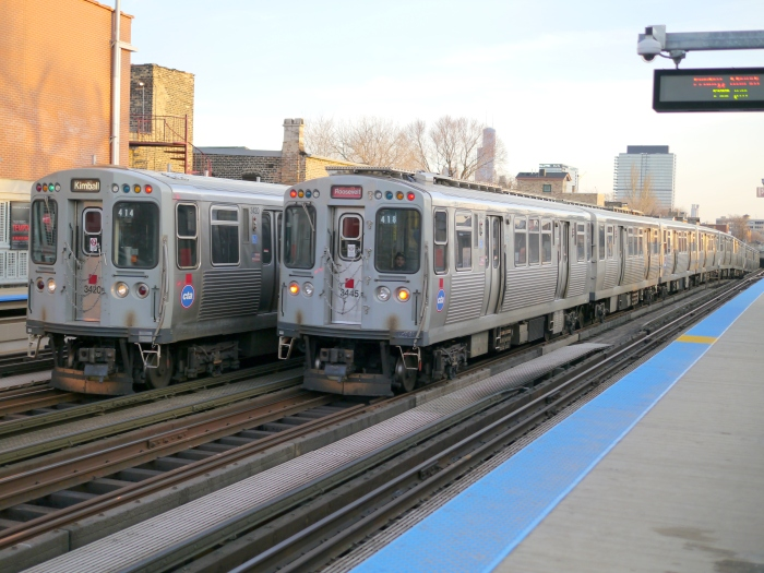 CTA Brown Line subway trains passing each other at Armitage, March 8, 2013