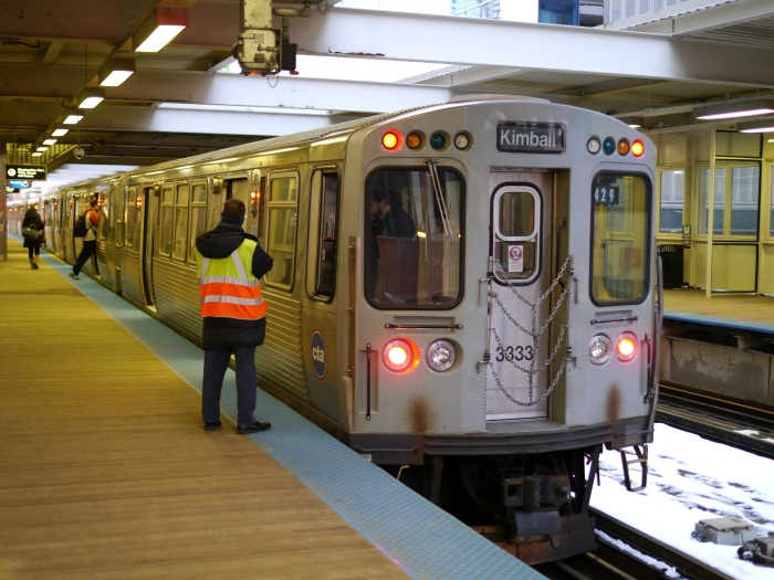 CTA Brown Line train turning back at Merchandise Mart, March 8, 2013