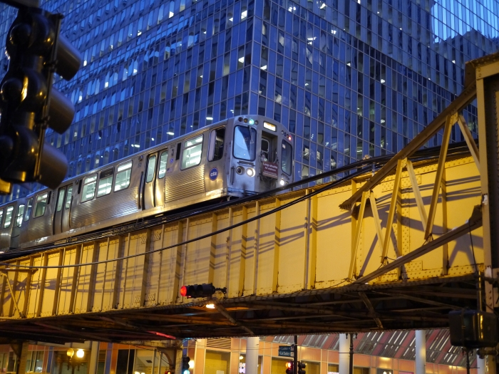 CTA Brown Line Loop shuttle at Lake and LaSalle, March 8, 2013