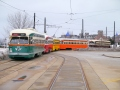 The five original Kenosha PCCs, all ex-Toronto, lined up outside the carbarn (4606-4609-4616-4615-4610).