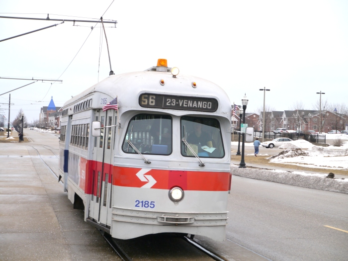 2185 in action, still signed for the SEPTA #56 streetcar line (Erie-Torresdale).