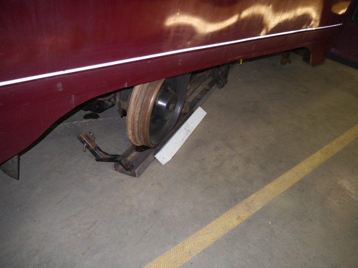 Interestingly, a couple of PCCs in the shop are not on rails. The metal under the wheels is there simply to protect the floor. Cars can be moved on and off the tracks in just a few hours by one man.
