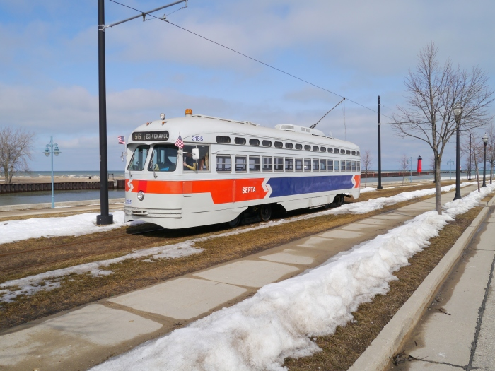 The sun shines on ex-SEPTA PCC 2185, now in service in Kenosha.