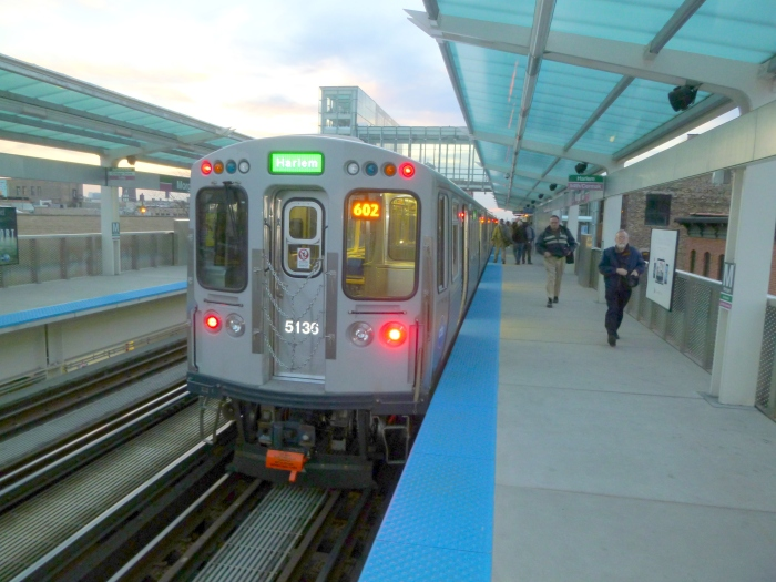 Our trip ends in twilight at Morgan on the Green Line.