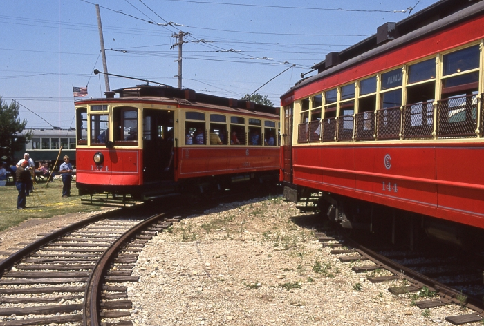 Red Chicago streetcars #144 and #1374 at the Illinois Railway Museum (Author's photo)