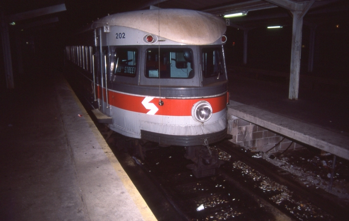 "SEPTA ex-P&W ""Bullet"" car #202 in service on the Norristown High-Speed Line in 1985. (Photo by David Sadowski)"