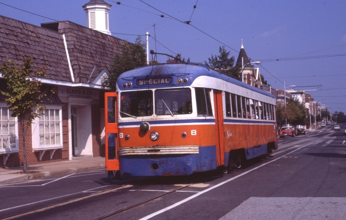Brilliner #8, now in SEPTA colors, nears the end of service in this August 16, 1981 view on the Media trolley line by Elwood C. McEllroy (Author's collection)