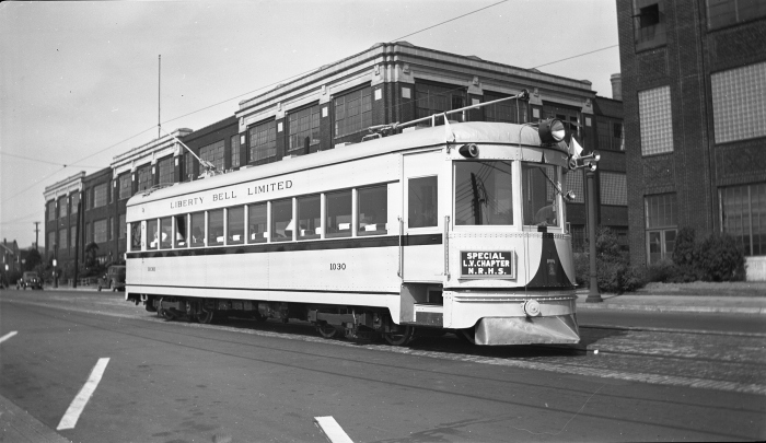 Indiana Railroad #55, reincarnated as Lehigh Valley Transit #1030, seen here in Alletown PA on an August 28, 1941 NRHS fantrip. This was the beginning of the car's 10-year career here. (Author's collection)