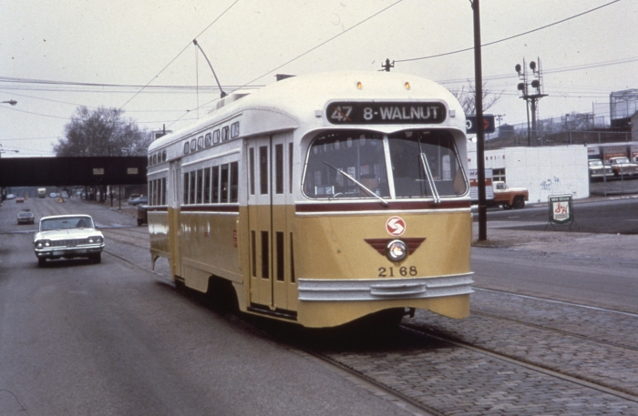 SEPTA PCC 2168 in Philadelphia service on the #47 line in 1973. (Author's collection)
