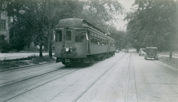 CA&E cars 130 and 139, on CERA Fantrip #46 (July 14, 1946). Location is Franklin St. siding in Waukegan. (Author's collection)