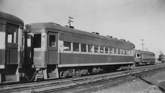 "The 129-144 series were not the only ones that had their ends altered to fit the Chicago ""L"" system, with its tight turns. Here is ex-WB&A 38, reconfigured as CA&E 603. (Author's collection)"