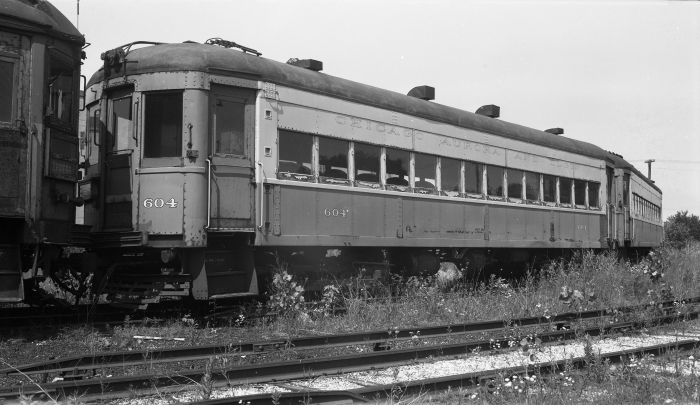 At least some ex-WB&A cars lasted until the end of CA&E service. Here we see car 604 (former WB&A 39) at Wheaton yard on June 25, 1961. (Author's collection)