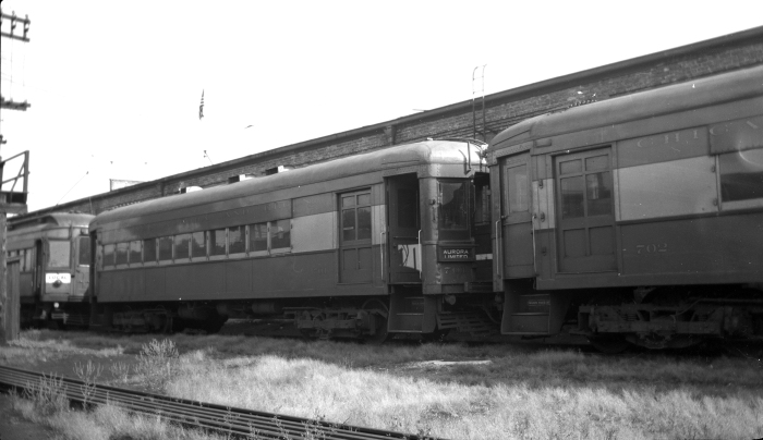 Here we see CA&E 701, ex-WB&A 81, at Wheaton yard on September 5, 1943. This car was built by Cincinnati Car Co. in 1913. (Author's collection)