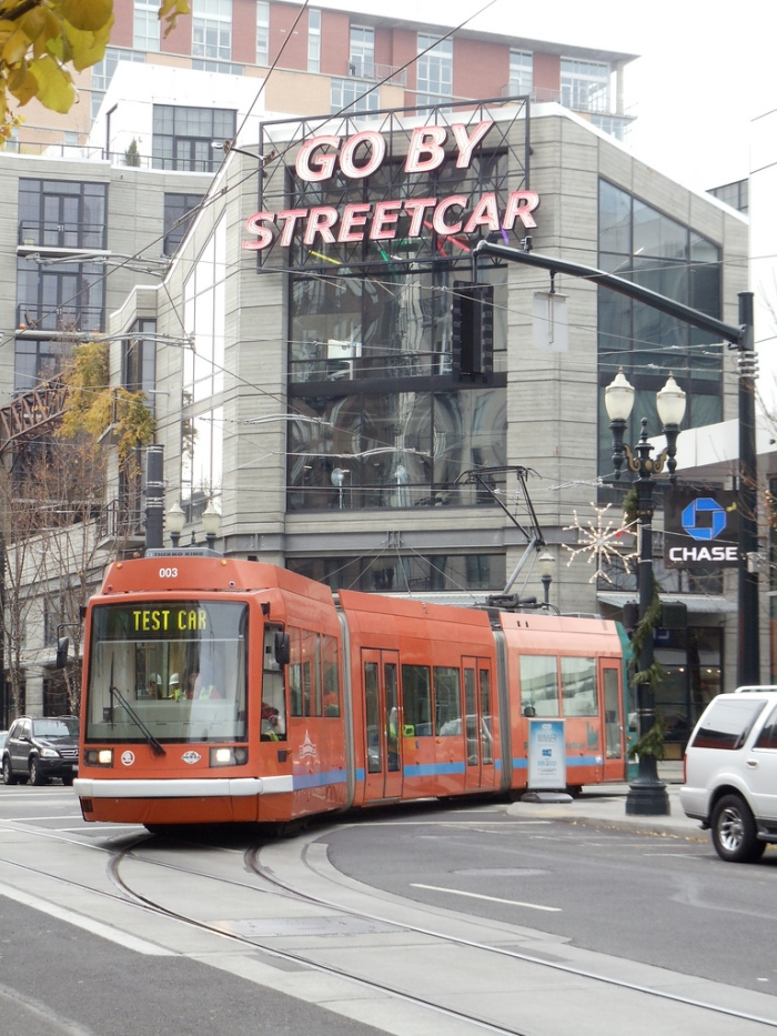 1st Loop Test Train - Go By Streetcar - Portland OR 12-14-2011 (Photo courtesy of Portland Streetcar, Inc.)