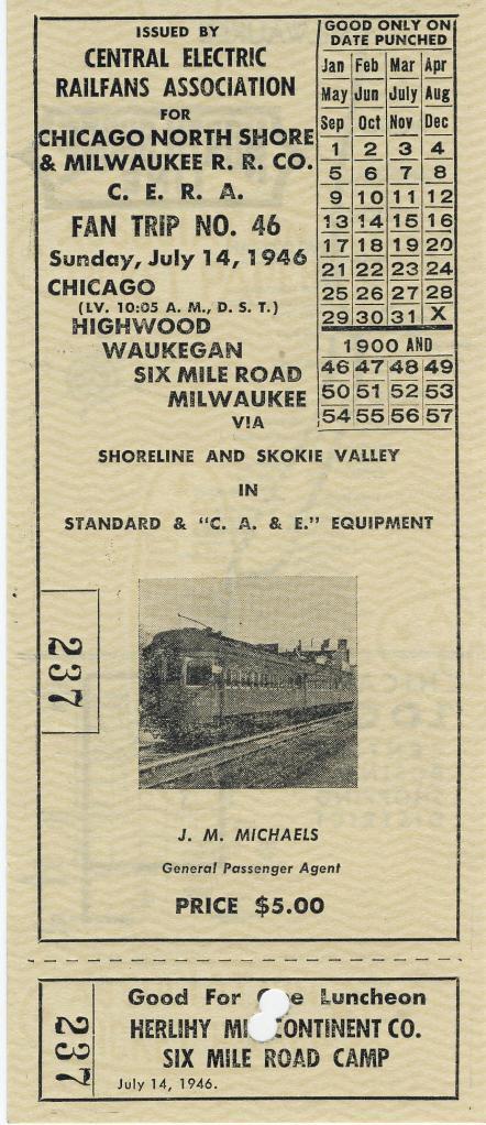 1946 CERA Fantrip ticket (Collection of John T. Csoka)