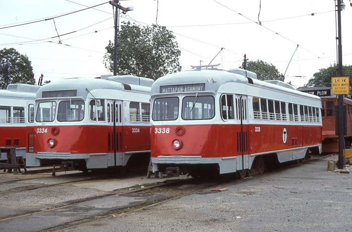 MBTA 3334 and 3338 at Mattapan in 1977. (Author's collection)