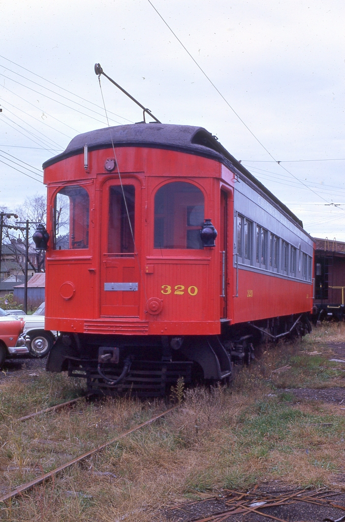 CA&E 320 was the last car moved off the property in early 1962. The car was purchased by the Iowa Chapter of NRHS and is shown here later that same year. It is now at the Midwest Electric Railway in Mount Pleasant, Iowa. (Author's collection)