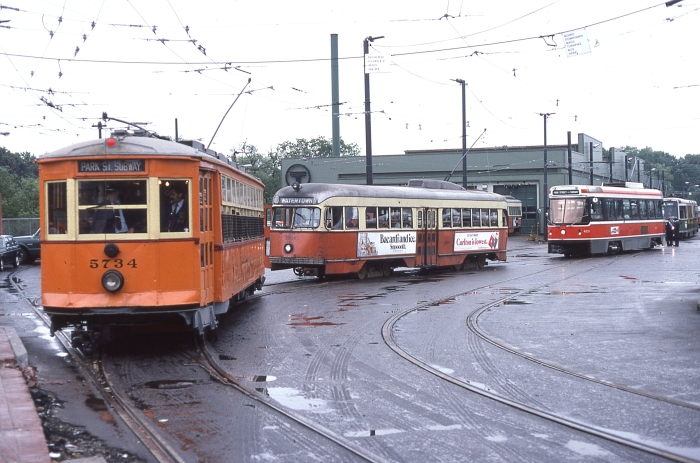 "Four different types of streetcars in one picture: a ""Type 5,"" PCC, Toronto CLRV, and a Boeing LRV. (Author's collection)"