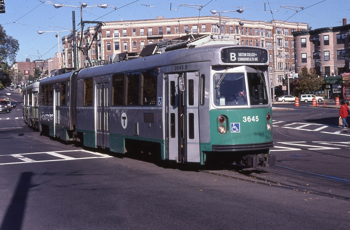 "MBTA ""Type 7"" car 3645 in the 1990s. (Author's collection)"