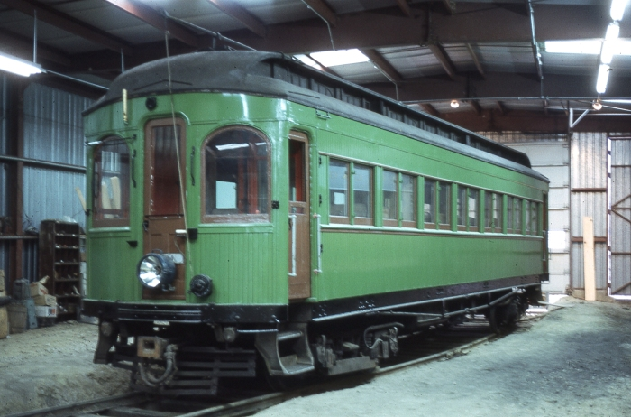 "CA&E wood car 36 on January 1, 1963, shortly after being acquired by Gerald E. Brookins for the Columbia Park & Southwestern, aka ""Trolleyville USA ."" This car is now at the Illinois Railway Museum. (Photo by Richard S. Short, Author's collection)"