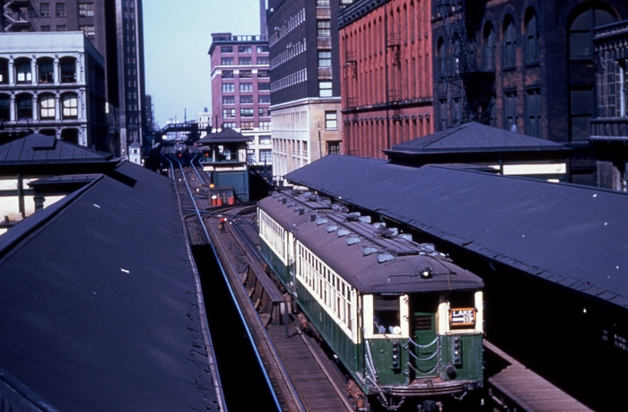 "A Lake Street ""B"" train on the Loop ""L"". (Author's collection)"