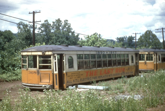 Knoxville trolleys abandoned in a field after the last run in 1947. (Author's collection)