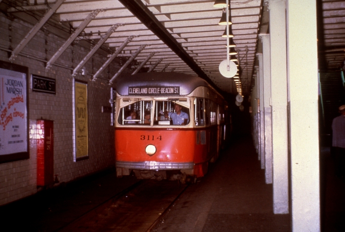 MBTA PCC 3114 in the subway in 1969. (Author's collection)