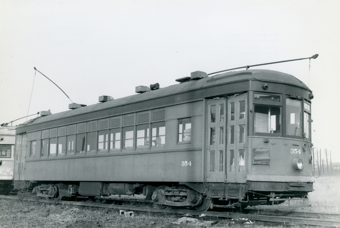 North Shore Line city car 354 on November 27, 1954, at the Chicago Hardware Foundry Co., one of the first acquisitions of the Illinois Electric Railway Museum, today's IRM in Union. (Photo by Bob Selle, Author's collection)