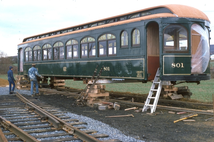 Lehigh Valley Transit interurban car 801, built by Jewett Car Co. in 1912, became a cottage for a time, but was eventually restored. Here we see it about to receive the trucks from sister car 808, which spent time in the Philadelphia subway doing trash collection. Currently, 801 is at the Electric City Trolley Museum in Scranton, PA. (Author's collection)