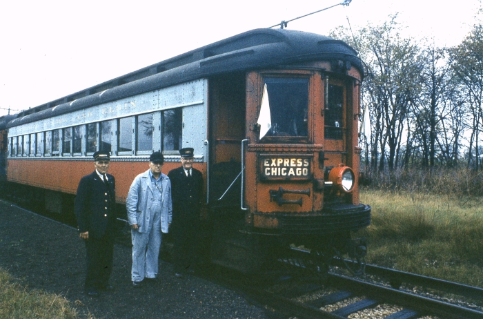 #4 - I believe this is the crew of a CA&E charter operated after the end of passenger service. If memory serves, I think the photo was taken at the Hollywood (formerly Renwick) flag stop on the Elgin branch, with Raymond Street behind the photographer. (Photographer unknown)