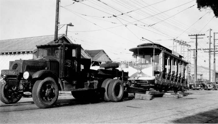 Here, we see Five Mile Beach Electric Railway car 36 in 1945, being transported to its current home at the Connecticut Trolley Museum in East Windsor. (Author's collection)