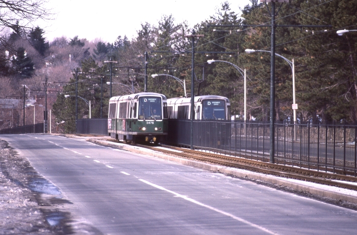 "Two ""D"" trains pass each other in the 1980s. (Photo by David Sadowski)"
