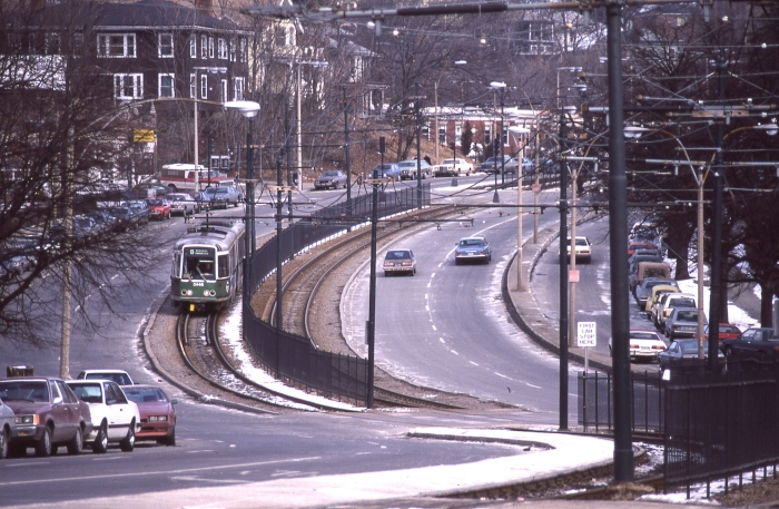 MBTA LRV 3446 on the Commonwealth Avenue line in the 1980s. (Photo by David Sadowski)