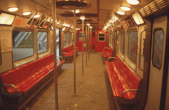 Interior of a Red Line train. (Photo by David Sadowski)