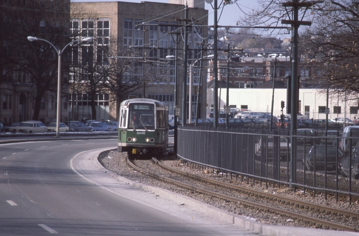 MBTA LRV 3446 on the Commonwealth Avenue line in the late 1980s. (Photo by David Sadowski)