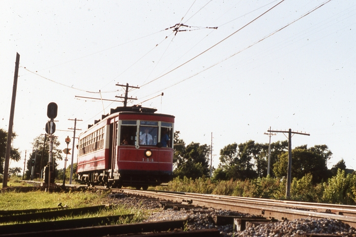 Chicago Red Pullman 144 running on open track at IRM in the mid-1980s. (Photo by David Sadowski)