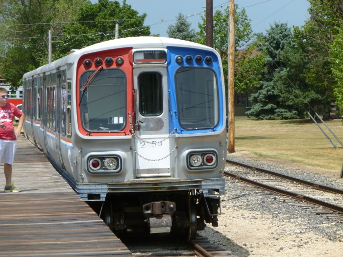 CTA 2153-2154 at IRM on July 7, 2012, powered by trolley poles. (Photo by David Sadowski)