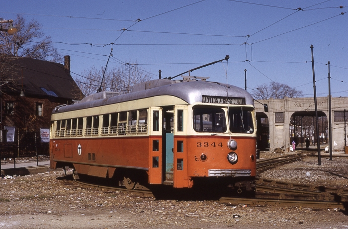 Double-end PCC car 3344 at Mattapan in the late 1960s. (Author's collection)